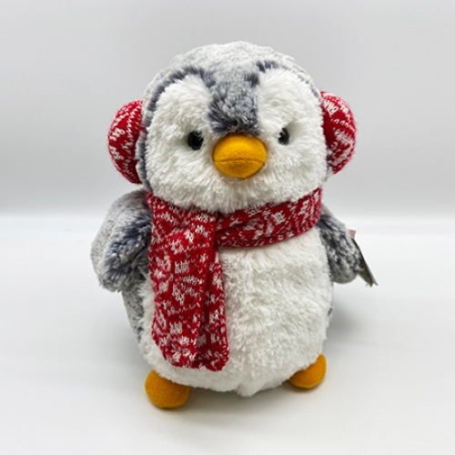 Cuddly penguin with ear muffs
